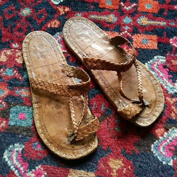 3f8641c09f4c7 Vintage hand tooled leather sandals Mali Africa
